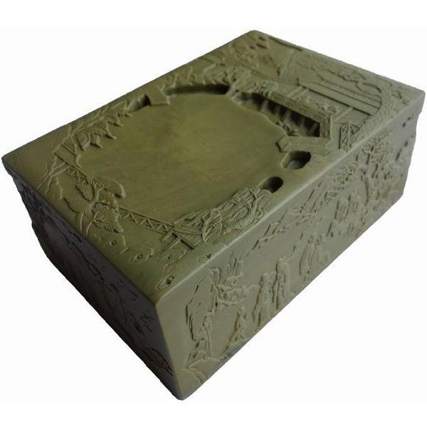 老緑端渓硯 蘭亭硯 5吋 13×9×5.5cm 一点物