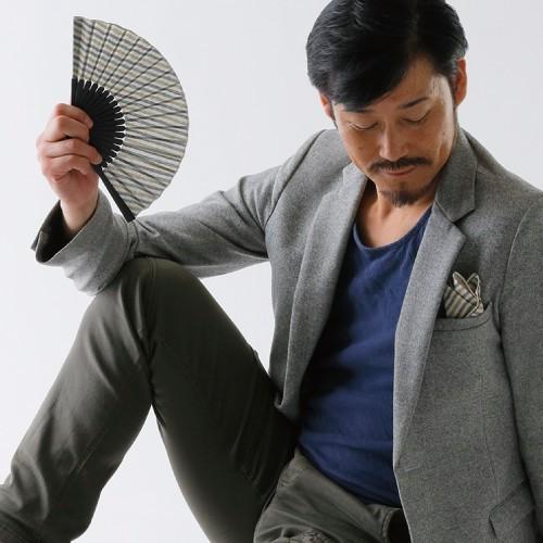 poke扇 流水 遠州綿紬扇子 (POKESEN メンズ レディース兼用)|ryokushusen|02