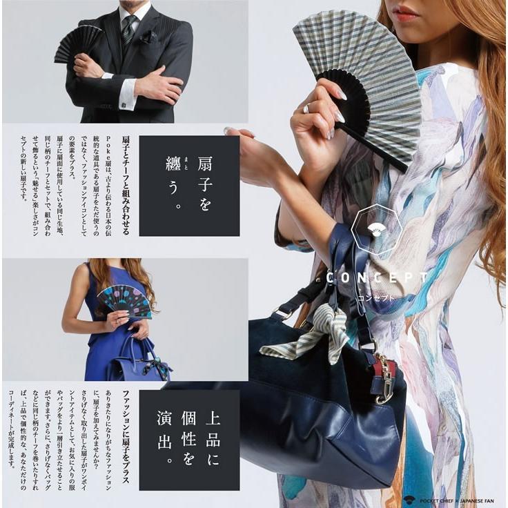 poke扇 流水 遠州綿紬扇子 (POKESEN メンズ レディース兼用)|ryokushusen|05