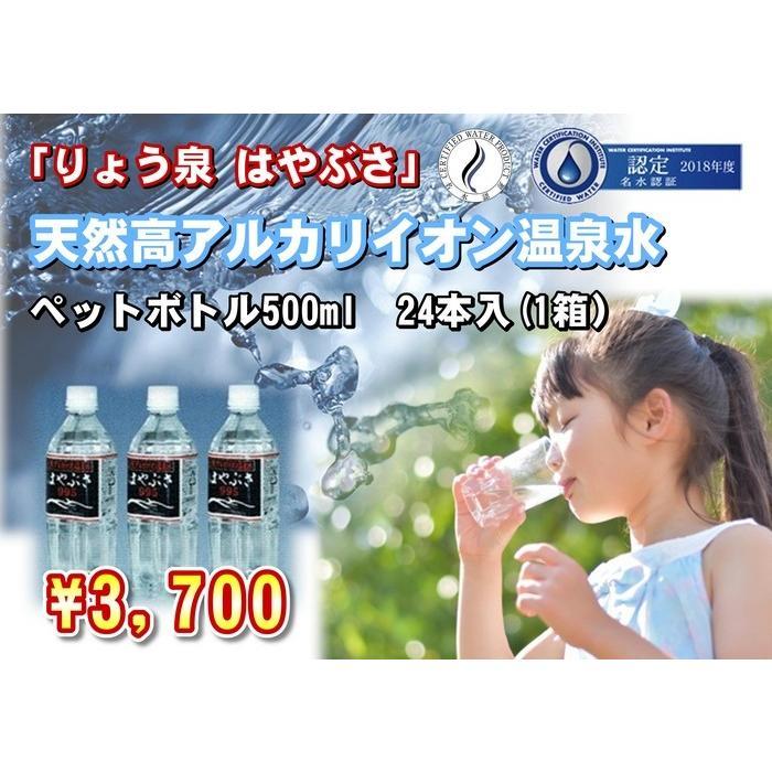 自社工場直送!採れたての天然高アルカリイオン温泉水 りょう泉はやぶさ ペットボトル 500mL×24本|ryousen