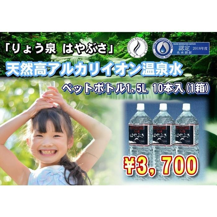自社工場直送!採れたての天然高アルカリイオン温泉水 りょう泉はやぶさ ペットボトル 1.5L×10本|ryousen
