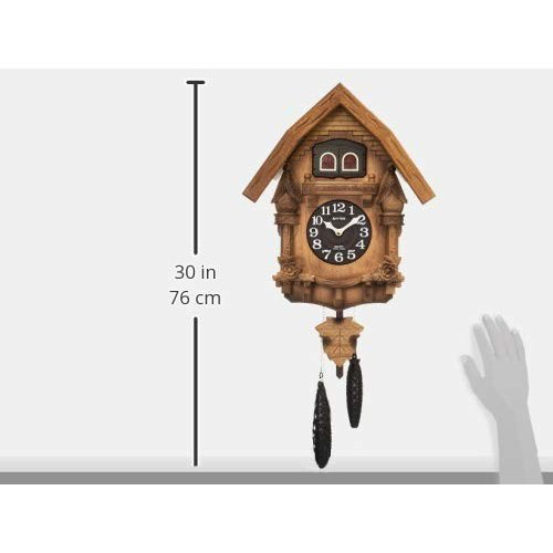RHYTHM(リズム時計) 本格的ふいご式カッコー時計 カッコーテレスR 《日本組立》 木枠/濃茶ボカシ木地仕上げ 4MJ236RH06