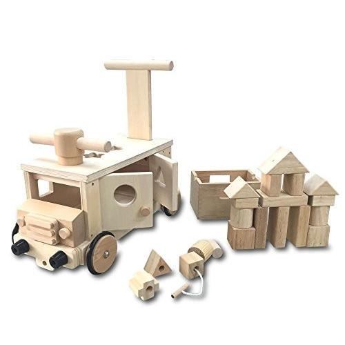 遊び方いろいろ 木製 つみきバス 乗用 玩具 カタカタ 押し車 パズル