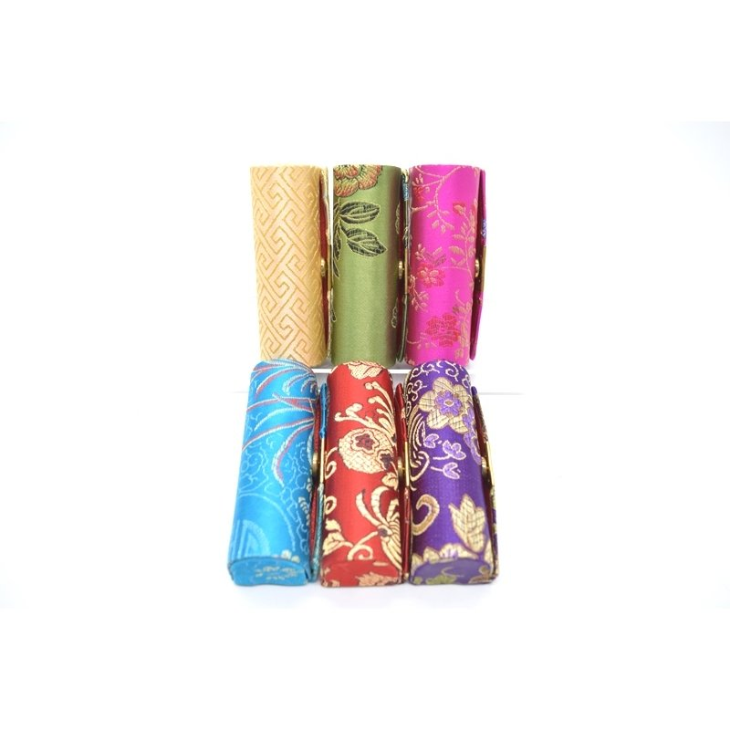 小物入れ 印鑑入れ リップケース 鏡付き 中華柄 アジアン エスニック 色が選べる 幅3cm ryu