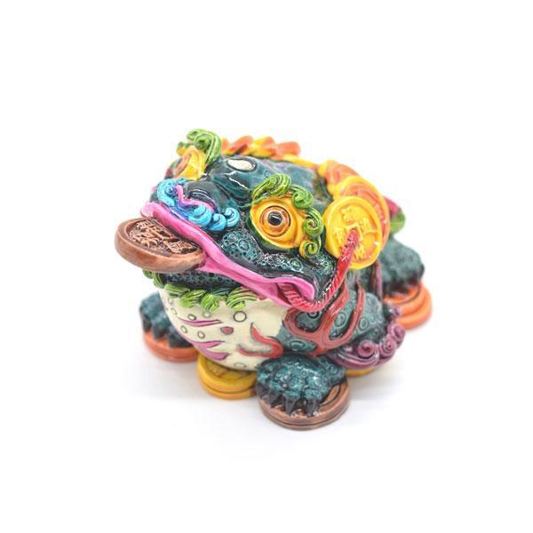 三脚蟾蜍 カラフル 樹脂製置物 彩色済み 6cm 万事如意|ryu