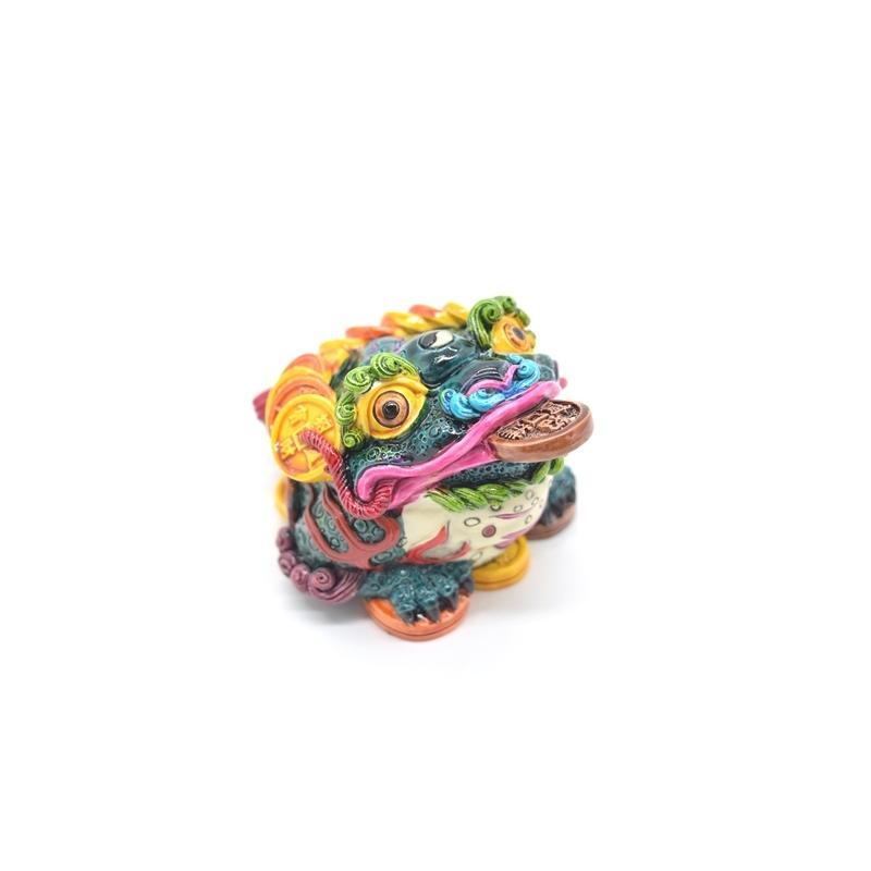 三脚蟾蜍 カラフル 樹脂製置物 彩色済み 6cm 万事如意|ryu|06