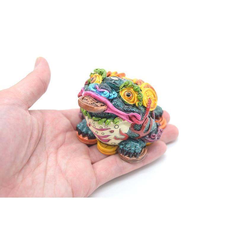 三脚蟾蜍 カラフル 樹脂製置物 彩色済み 6cm 万事如意|ryu|07