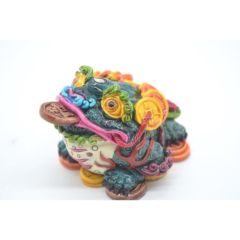 三脚蟾蜍 カラフル 樹脂製置物 彩色済み 6cm 万事如意|ryu|08