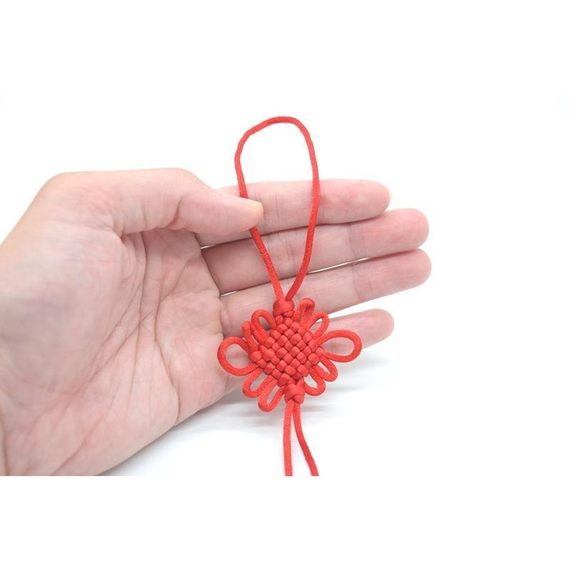 【メール便OK】中国結び 赤色 三本セット 玉房結 紐飾り ストラップ アジアンノット 中華雑貨 35cm ryu 03