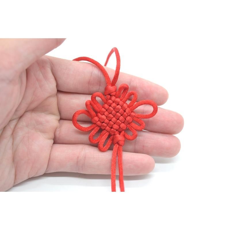 【メール便OK】中国結び 赤色 三本セット 玉房結 紐飾り ストラップ アジアンノット 中華雑貨 35cm ryu 04