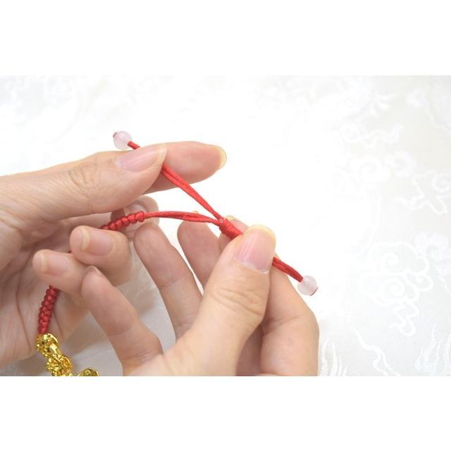 【メール便OK】 貔貅 ヒキュウ ブレスレット 金メッキ 中国紐 中国結び フリーサイズ 伸縮可能 ryu 08