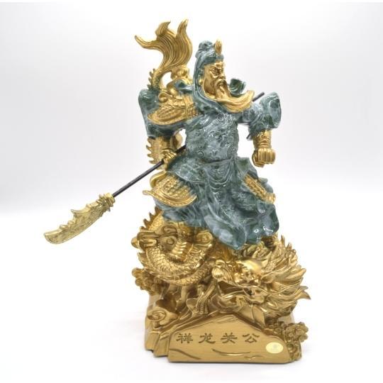 関羽 武器持ち 龍つき 樹脂製置物 ビジネスの神様 商売繁盛  大 ryu