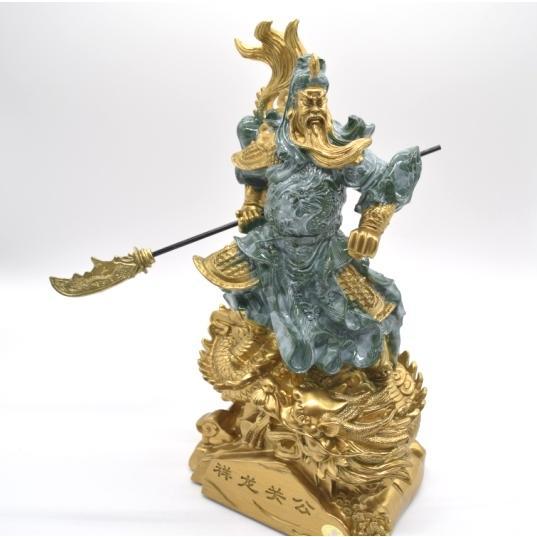 関羽 武器持ち 龍つき 樹脂製置物 ビジネスの神様 商売繁盛  大 ryu 02