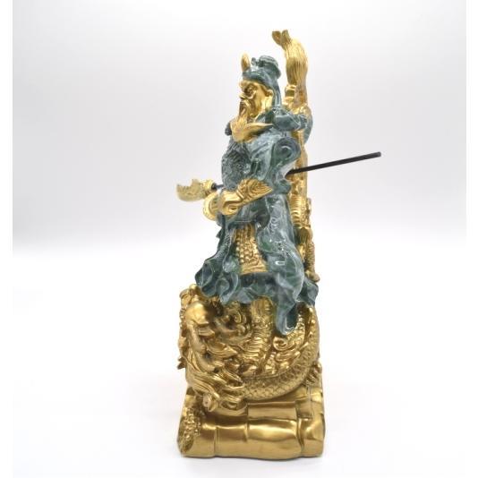 関羽 武器持ち 龍つき 樹脂製置物 ビジネスの神様 商売繁盛  大 ryu 03