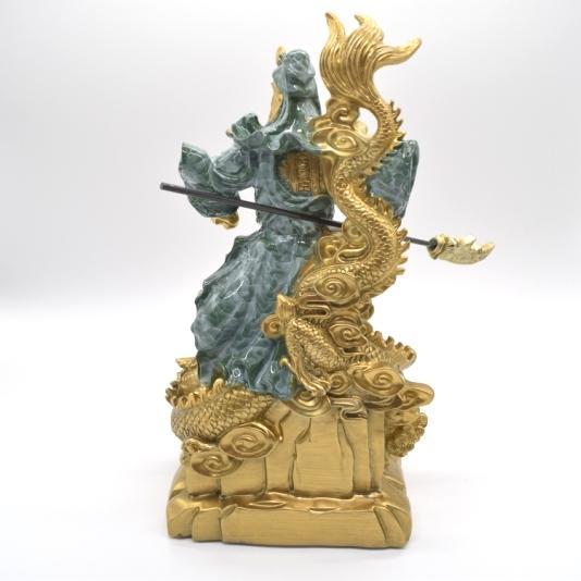 関羽 武器持ち 龍つき 樹脂製置物 ビジネスの神様 商売繁盛  大 ryu 05