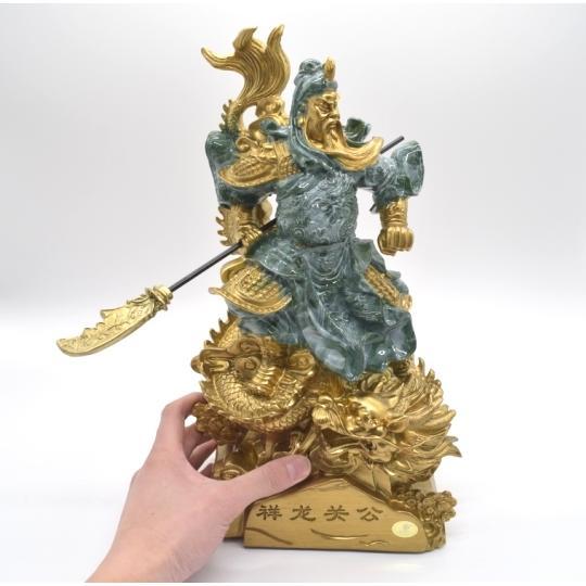 関羽 武器持ち 龍つき 樹脂製置物 ビジネスの神様 商売繁盛  大 ryu 07