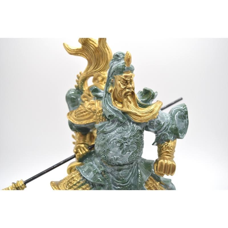関羽 武器持ち 龍つき 樹脂製置物 ビジネスの神様 商売繁盛  大 ryu 08