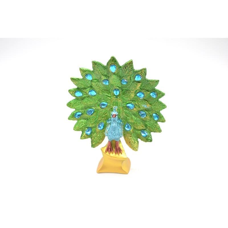 孔雀 鳳凰 樹脂製置物 緑色 彩色済み 台座付 15cm ryu