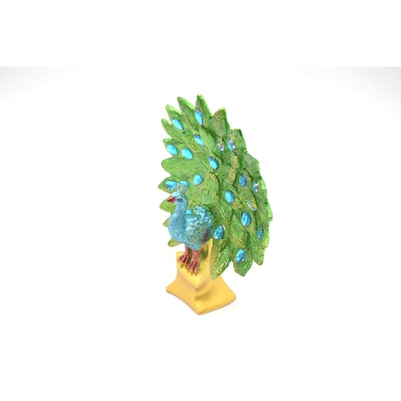 孔雀 鳳凰 樹脂製置物 緑色 彩色済み 台座付 15cm ryu 02