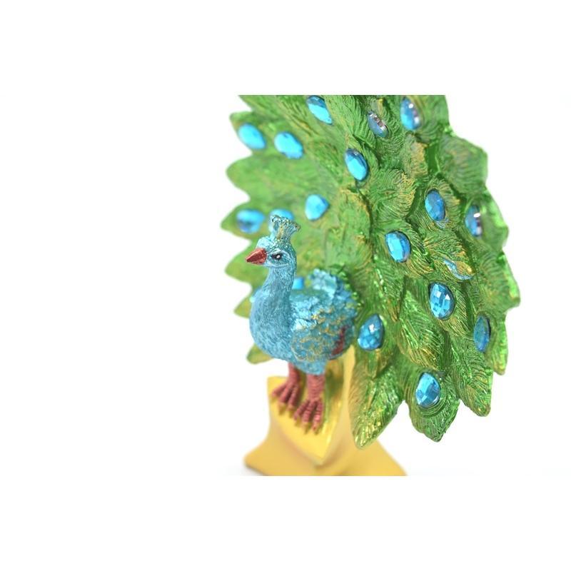 孔雀 鳳凰 樹脂製置物 緑色 彩色済み 台座付 15cm ryu 07