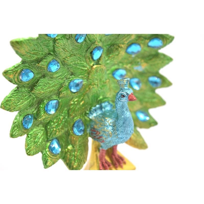 孔雀 鳳凰 樹脂製置物 緑色 彩色済み 台座付 15cm ryu 08