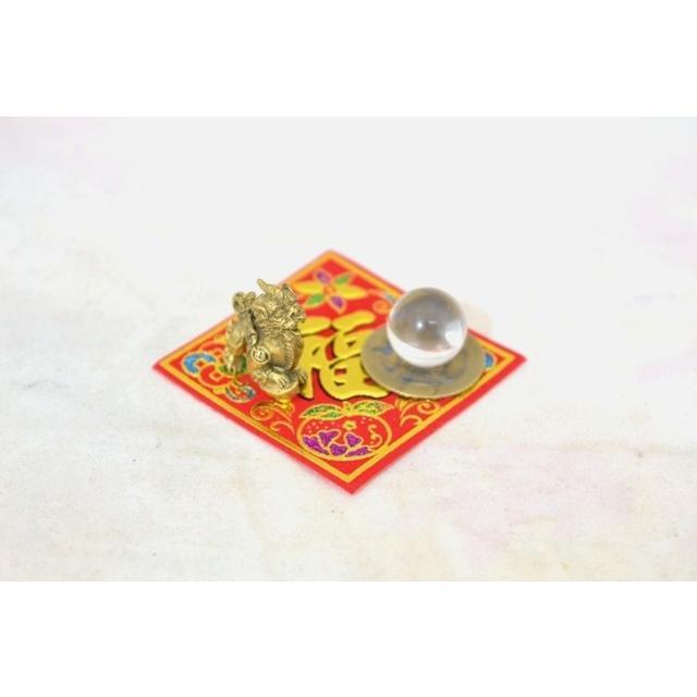 【メール便OK】 貔貅 ミニチュア風水セット 古銭 福飾り 選べる天然石 銅製置物 ヒキュウ ryu