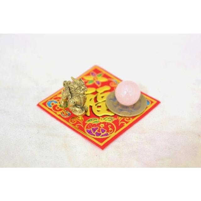 【メール便OK】 貔貅 ミニチュア風水セット 古銭 福飾り 選べる天然石 銅製置物 ヒキュウ ryu 04