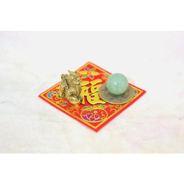 【メール便OK】 貔貅 ミニチュア風水セット 古銭 福飾り 選べる天然石 銅製置物 ヒキュウ ryu 05