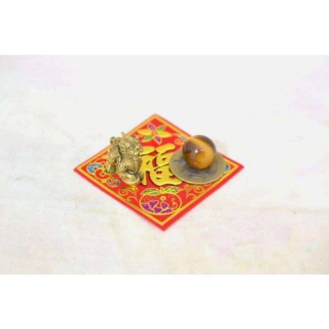 【メール便OK】 貔貅 ミニチュア風水セット 古銭 福飾り 選べる天然石 銅製置物 ヒキュウ ryu 06