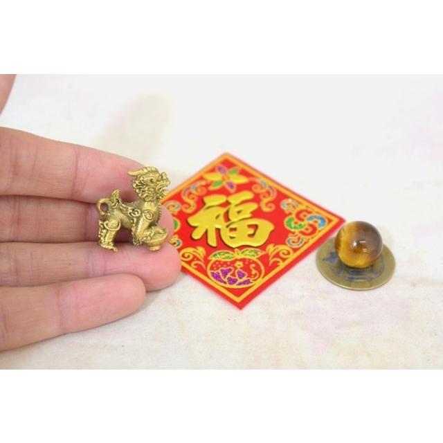 【メール便OK】 貔貅 ミニチュア風水セット 古銭 福飾り 選べる天然石 銅製置物 ヒキュウ ryu 02