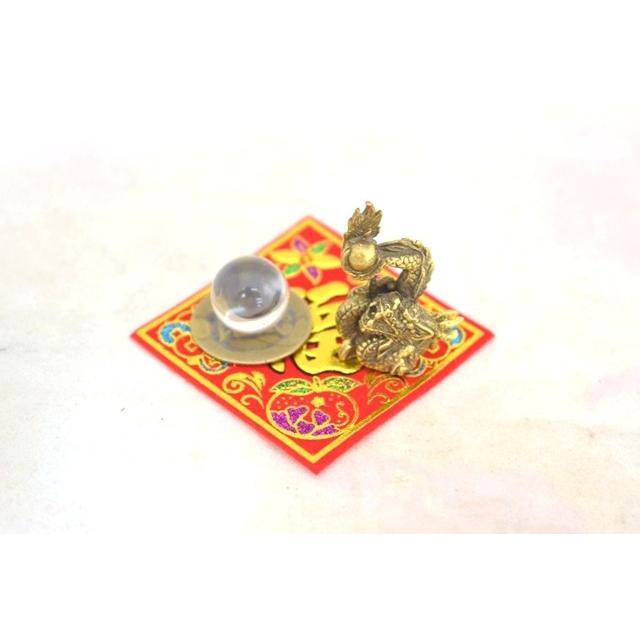 【メール便OK】 龍 ミニチュア風水セット 古銭 福飾り 選べる天然石 銅製置物 ドラゴン|ryu