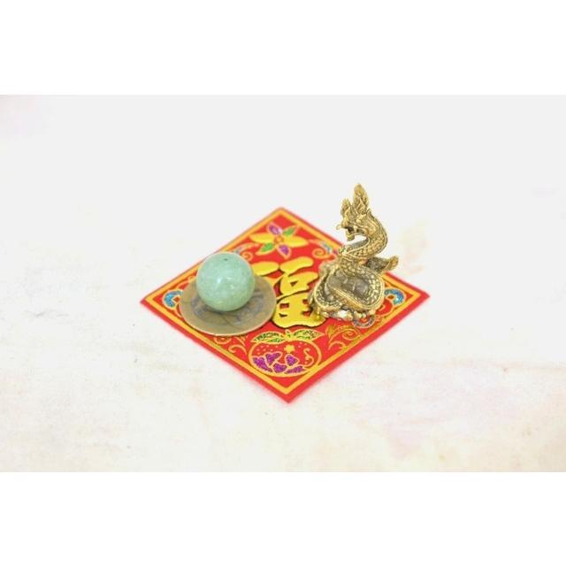 【メール便OK】 龍 ミニチュア風水セット 古銭 福飾り 選べる天然石 銅製置物 ナーガ|ryu|05