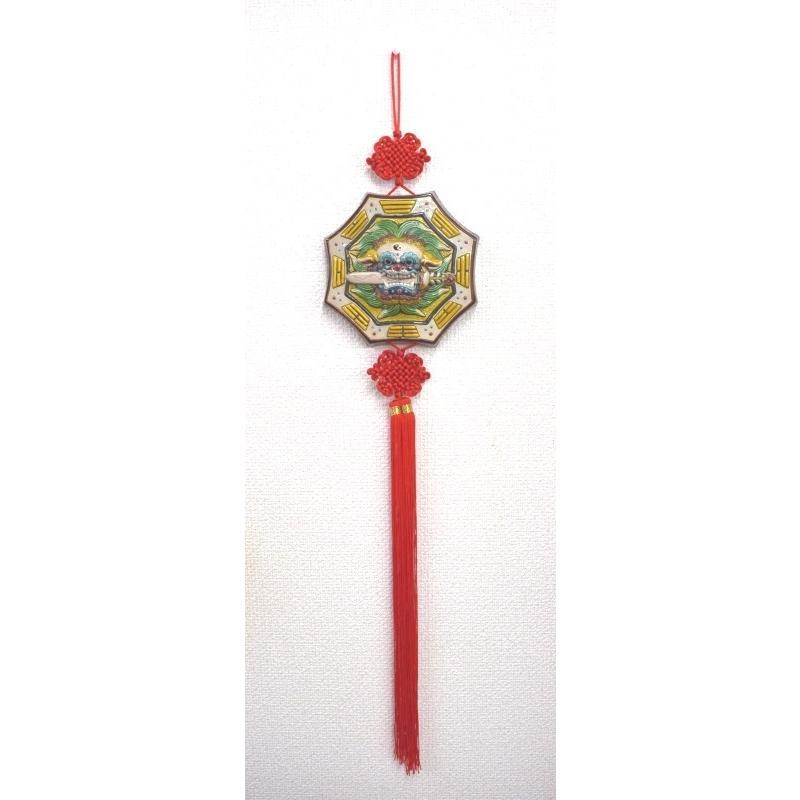 八卦飾り 根付 陶器製 獅子柄 吊るし雑貨 風水アイテム  全長約85cm ryu