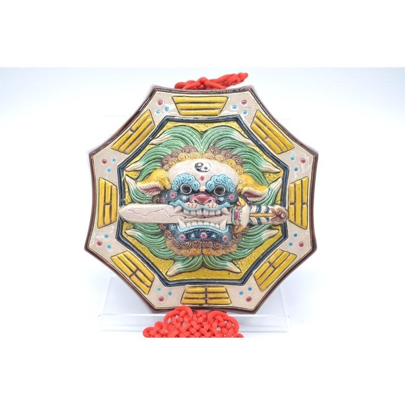 八卦飾り 根付 陶器製 獅子柄 吊るし雑貨 風水アイテム  全長約85cm ryu 02