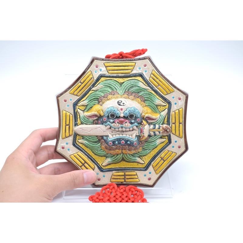 八卦飾り 根付 陶器製 獅子柄 吊るし雑貨 風水アイテム  全長約85cm ryu 03