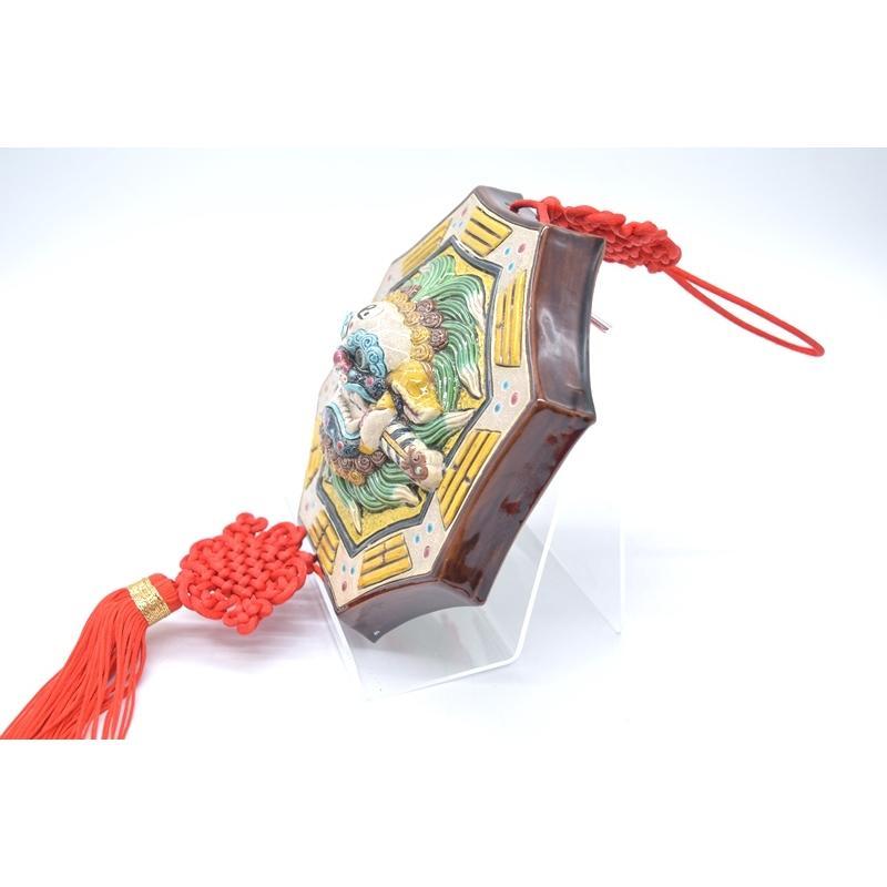 八卦飾り 根付 陶器製 獅子柄 吊るし雑貨 風水アイテム  全長約85cm ryu 04