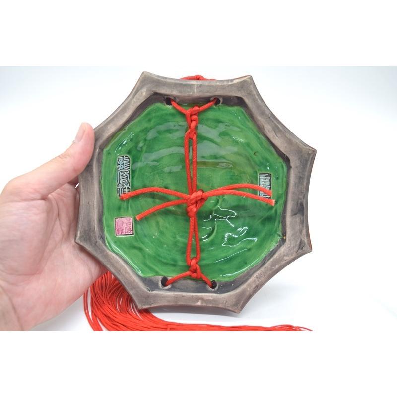 八卦飾り 根付 陶器製 獅子柄 吊るし雑貨 風水アイテム  全長約85cm ryu 05