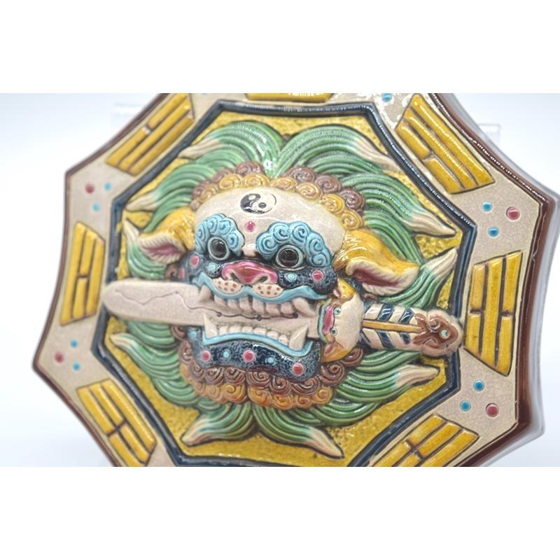 八卦飾り 根付 陶器製 獅子柄 吊るし雑貨 風水アイテム  全長約85cm ryu 06