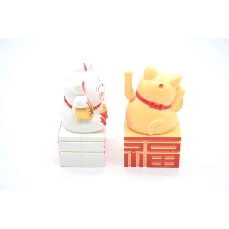 動く招き猫 電池稼働 単四電池 プラスチック製置物 片手稼働 福の字台座 選べる二種類 10cm ryu 05