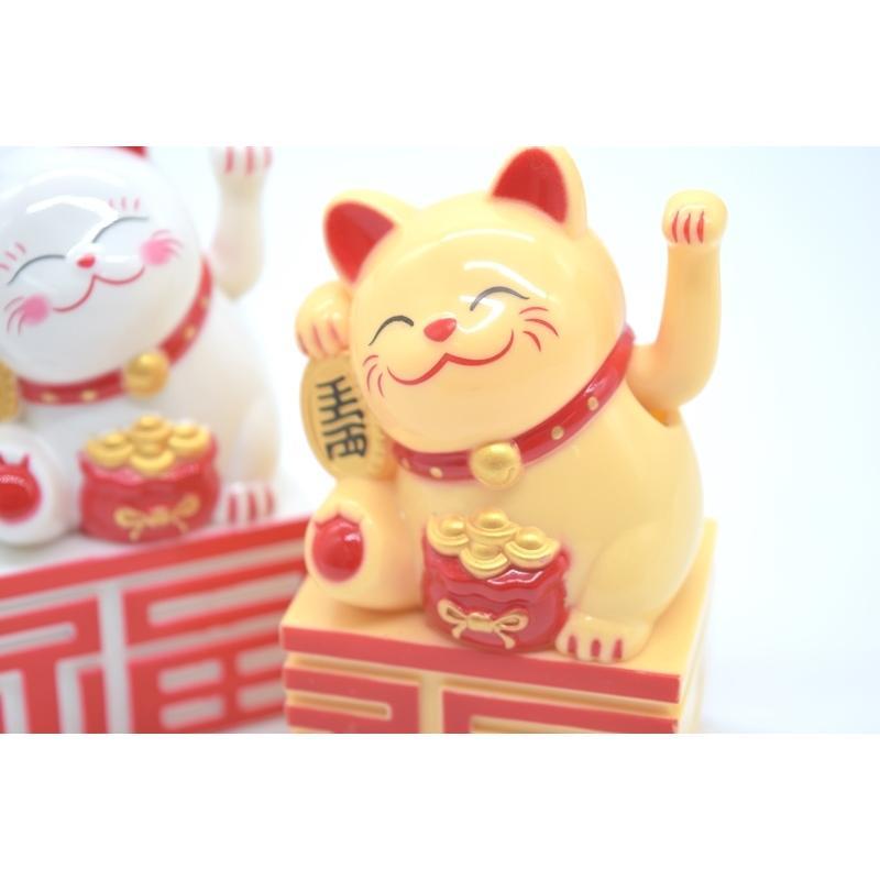 動く招き猫 電池稼働 単四電池 プラスチック製置物 片手稼働 福の字台座 選べる二種類 10cm ryu 09