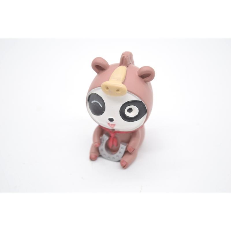 パンダ 馬の着ぐるみ 蹄鉄 マスコット人形 樹脂製置物 5.5cm|ryu