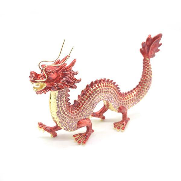 龍 竜 七宝焼き 金属製置物 五本爪 赤 レッド 13cm ryu