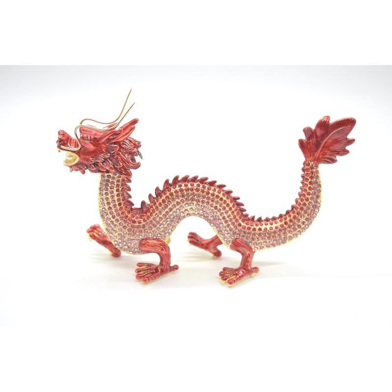 龍 竜 七宝焼き 金属製置物 五本爪 赤 レッド 13cm ryu 02