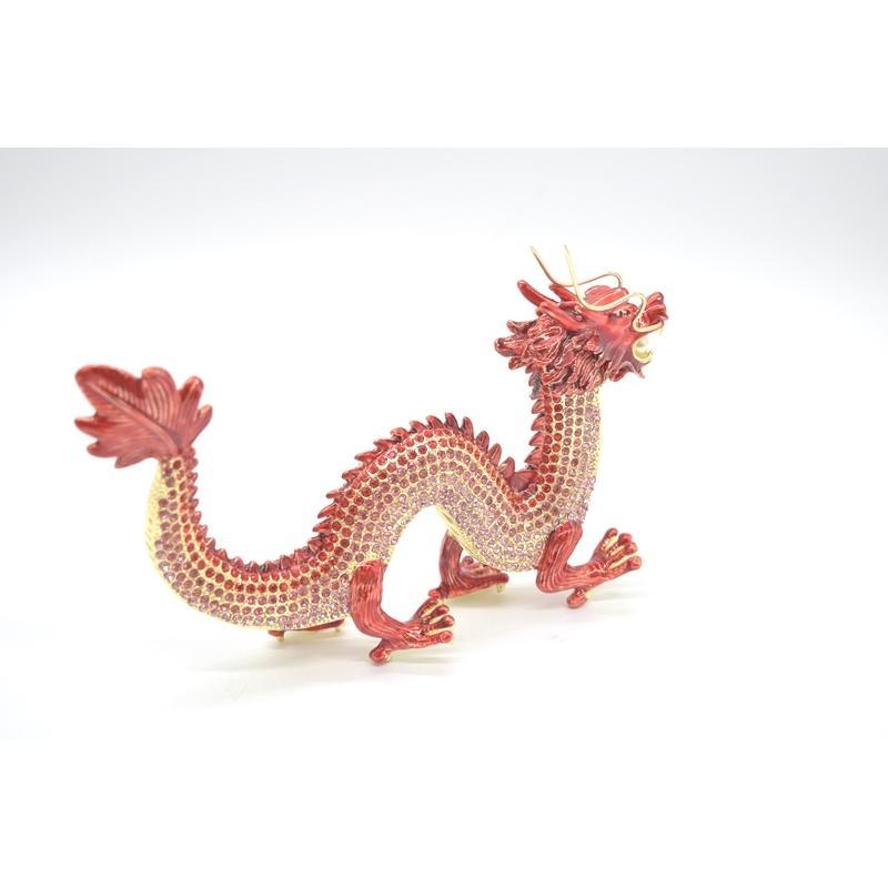 龍 竜 七宝焼き 金属製置物 五本爪 赤 レッド 13cm ryu 04