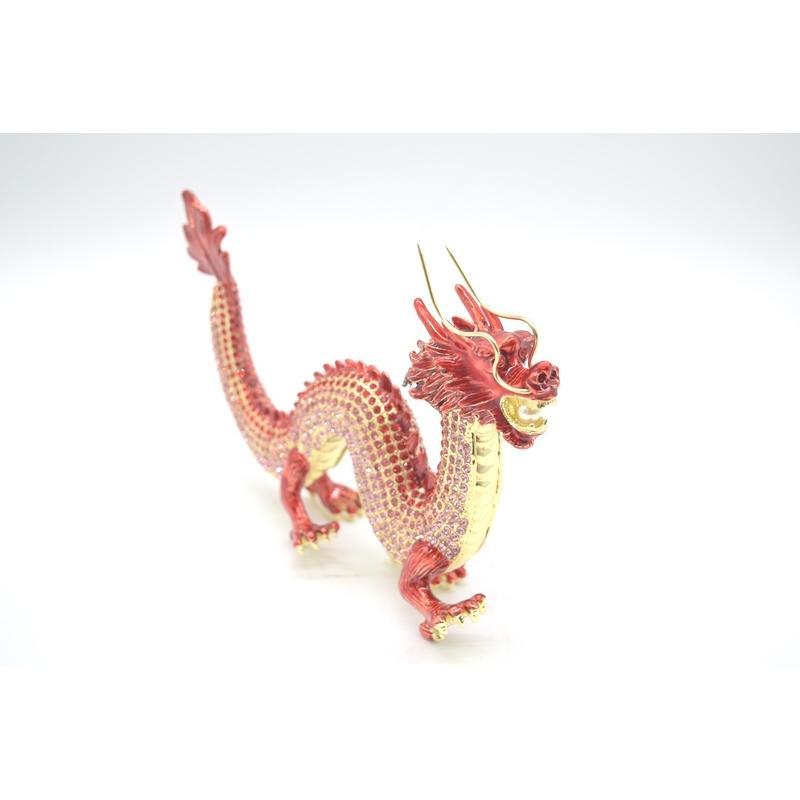 龍 竜 七宝焼き 金属製置物 五本爪 赤 レッド 13cm ryu 06