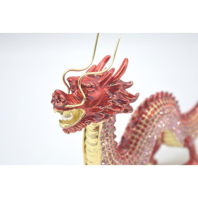 龍 竜 七宝焼き 金属製置物 五本爪 赤 レッド 13cm ryu 07