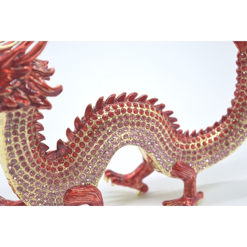 龍 竜 七宝焼き 金属製置物 五本爪 赤 レッド 13cm ryu 08