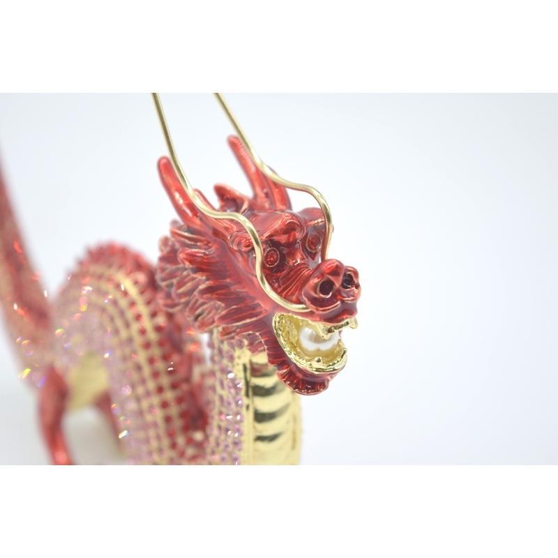 龍 竜 七宝焼き 金属製置物 五本爪 赤 レッド 13cm ryu 09