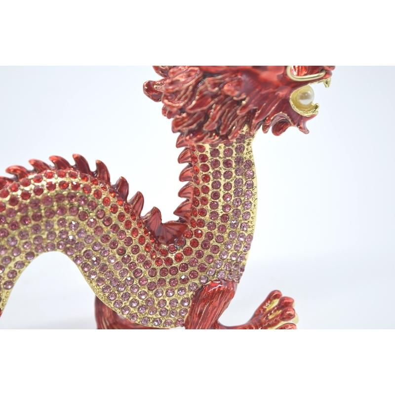 龍 竜 七宝焼き 金属製置物 五本爪 赤 レッド 13cm ryu 10