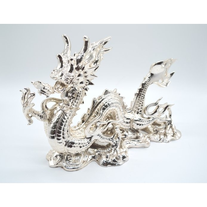 龍 銀色 樹脂製置物 艶あり 40cm|ryu